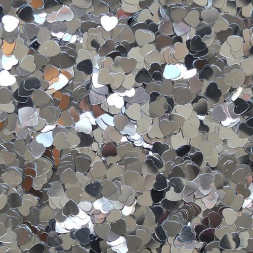 Heart Sequin 6mm Silver Metallic