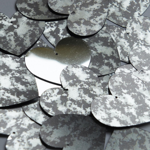 Heart Sequin 35mm Digi Ice Camo Camouflage Gray Black Metallic