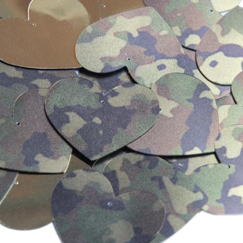 Heart Sequin 35mm Camo Brown Green Camouflage  Metallic