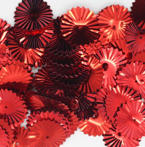Sunburst Sequin 17mm Red Metallic