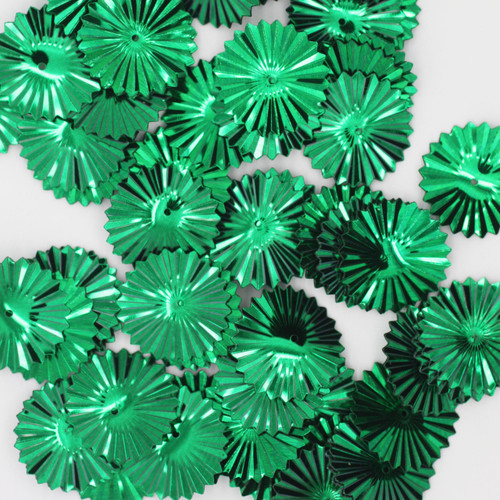 Sunburst Sequin 17mm Green Metallic