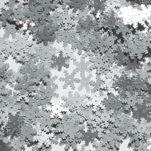 Snowflake Sequin 15mm Silver Matte Silk Frost