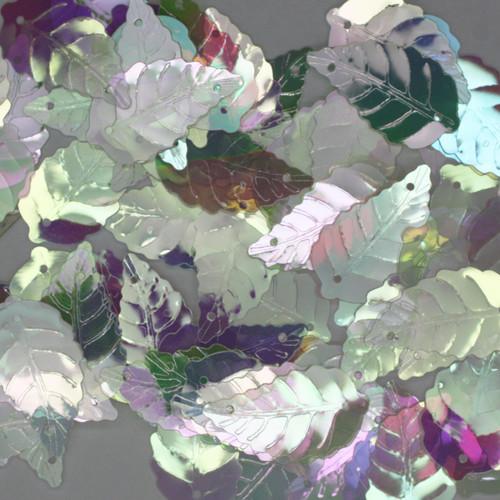 Large Leaf Sequin 25mm Crystal Rainbow Iris Iridescent
