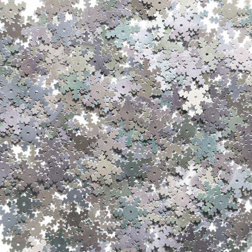 Snowflake Sequin 15mm Silver Rainbow Iris Shiny Metallic