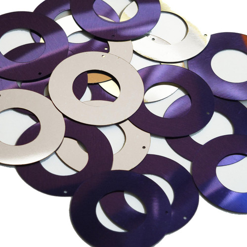 "Donut Ring Sequin 1.5"" Purple Silver Metallic"