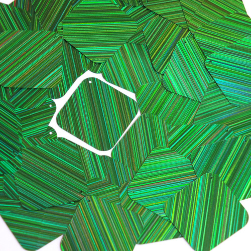 "Square Diamond Sequin 1.5"" Green City Lights Metallic Reflective"