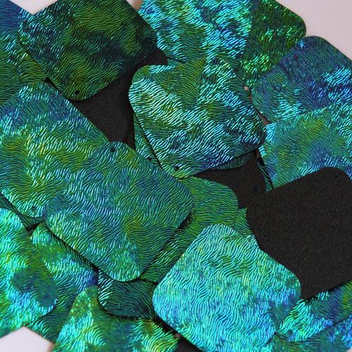 "Square Diamond Sequin 1.5"" Van Gogh Starry Night Blue Green Embosssed Swirl Texture"