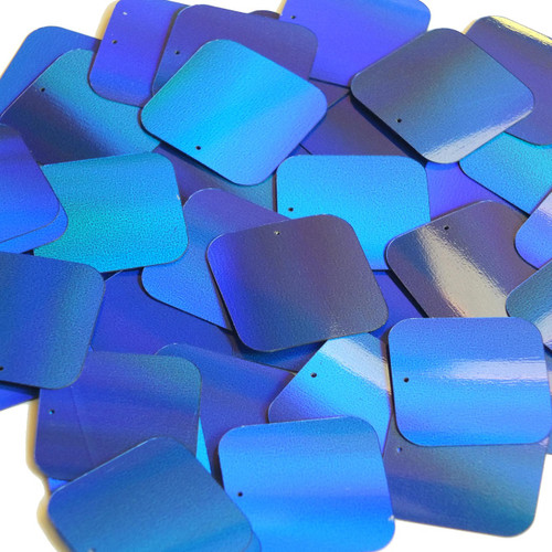 Square Sequin 30mm Blue Lazersheen Reflective Metallic