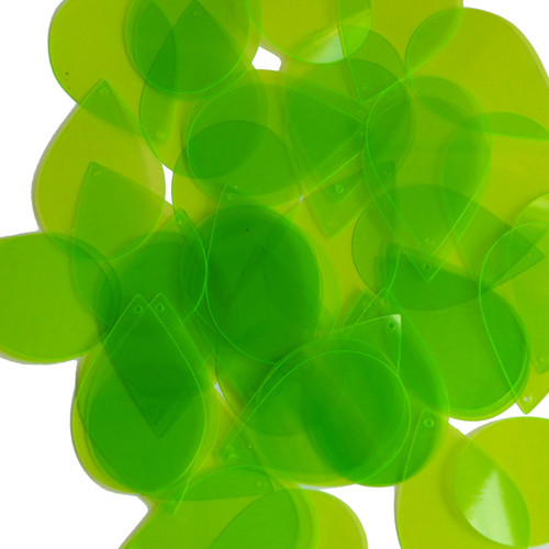 "Teardrop Sequin 1.5"" Lime Green Transparent See-Thru Fluorescent"