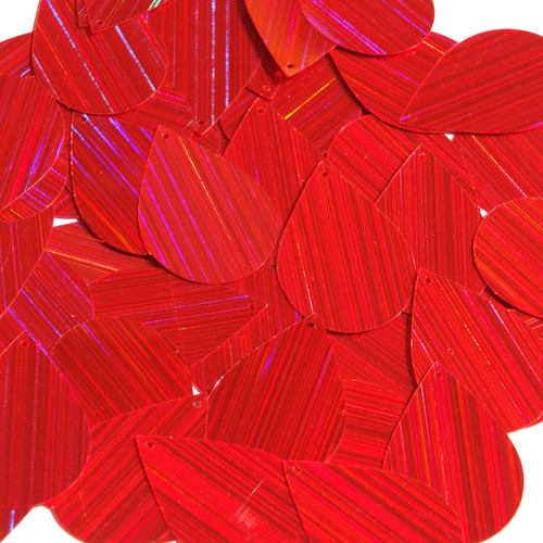 "Teardrop Sequin 1.5"" Red City Lights Metallic Reflective"