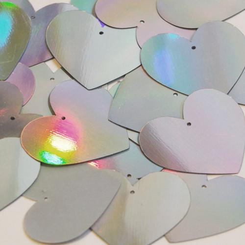 Heart Sequin 35mm Silver Lazersheen Reflective Metallic