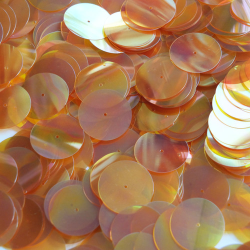 20mm Sequins Center Hole Apricot Yellow Crystal Rainbow Iris Iridescent
