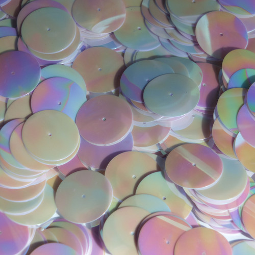 20mm ROUND SEQUIN PAILLETTES ~  WHITE Shiny RAINBOW IRIS IRIDESCENT~ Made in USA
