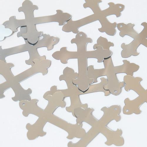"""Fleurie Cross Sequin 1.5"""" Silver Metallic"""