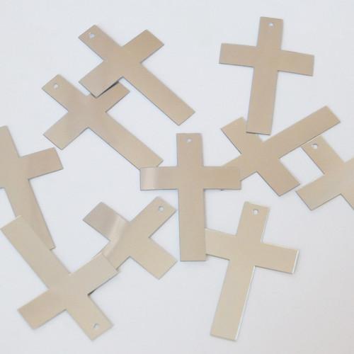 "Simple Cross Sequin 1.5"" Silver Metallic"