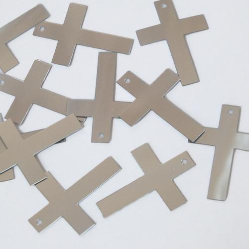 "Simple Cross Sequin 1"" Silver Metallic"