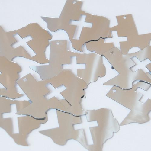 "Texas Cross Cut Out Sequin 1.5"" Silver Metallic"