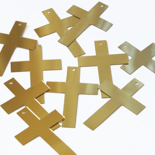 """Simple Cross Sequin 1.5"""" Gold Metallic"""