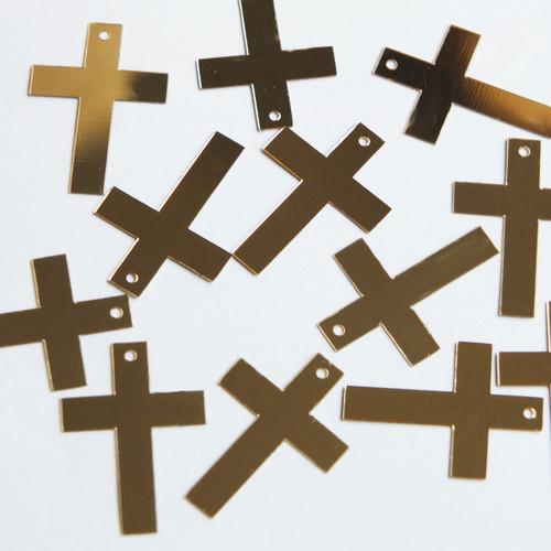 """Simple Cross Sequin 1"""" Gold Metallic"""