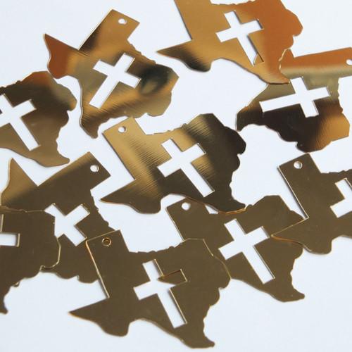 """Texas Cross Cut Out Sequin 1.5"""" Gold Metallic"""