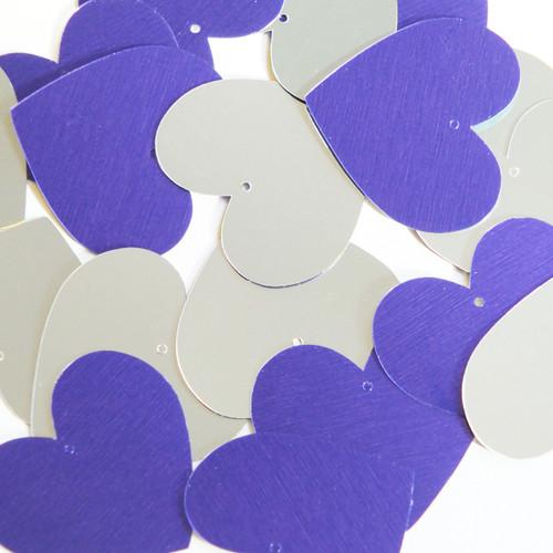 Heart Sequin 35mm Purple Silver Metallic