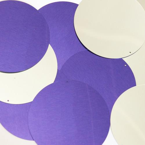 Round Sequin 70mm Purple Silver Metallic