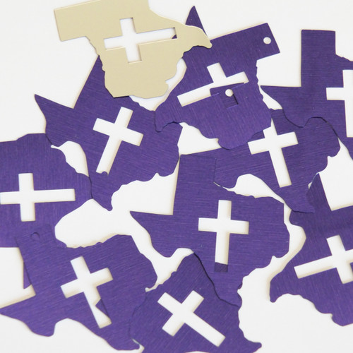 "Texas Cross Cut Out Sequin 1.5"" Purple Silver Metallic"