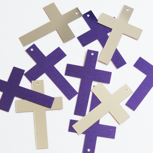 "Simple Cross Sequin 1.5"" Purple Silver Metallic"