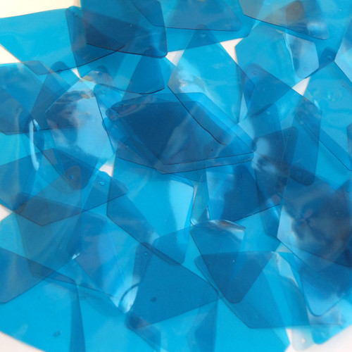 "Long Diamond Vinyl Shape 1.75"" Blue Go Go Transparent"