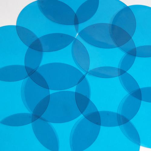 """Round Vinyl Shape 2"""" Blue Go Go Transparent"""