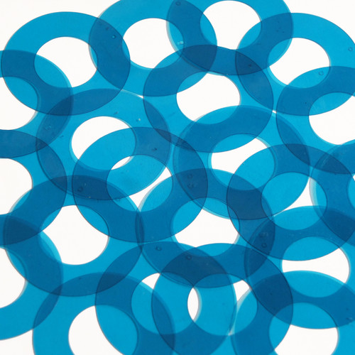 "Donut Ring Vinyl Shape 1.5"" Blue Go Go Transparent"