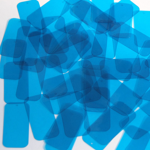"Rectangle Vinyl Shape 1.5"" Blue Go Go Transparent"