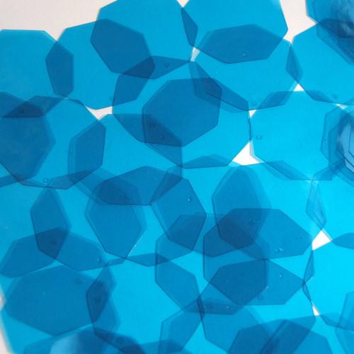 Octagon Vinyl Shape 30mm Blue Go Go Transparent