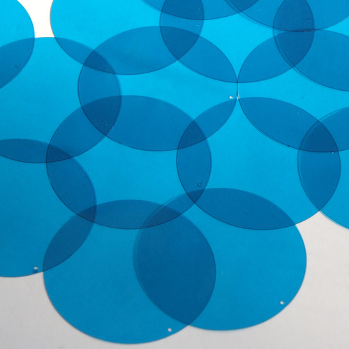 Round Vinyl Shape 50mm Blue Go Go Transparent