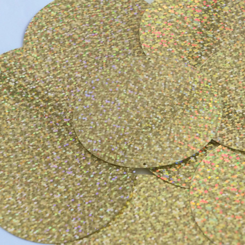 Round Sequins 70mm 2 hole Gold Hologram Glitter Sparkle Metallic