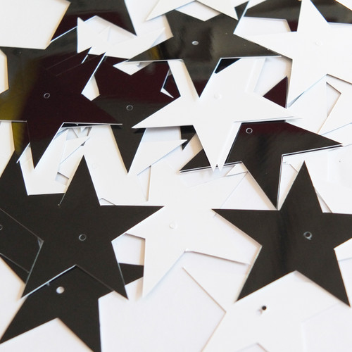 "Star 5 Point Sequins 1.5"" Black and White Duo Two Sided Opaque"