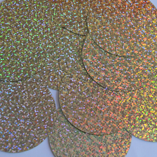 Round Sequins 60mm Gold Hologram Glitter Sparkle Metallic