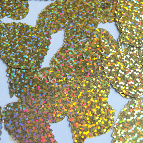 "Feather Leaf Sequins 1.5"" Gold Hologram Glitter Sparkle Metallic"