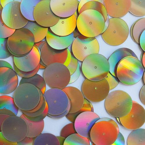 Round Sequins 18mm Gold Lazersheen Reflective Metallic
