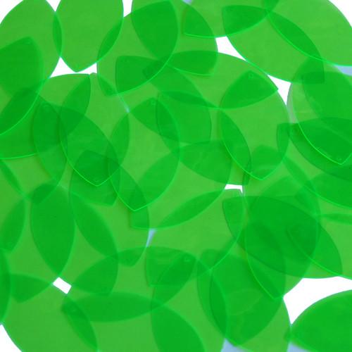 """1.5"""" x .75"""" Shape Navette Vinyl Go Go Trans Green"""