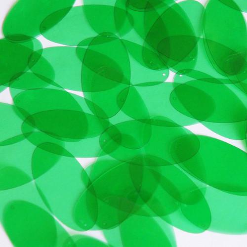 "1.5"" x .75"" Shape Oval Vinyl Go Go Trans Green"