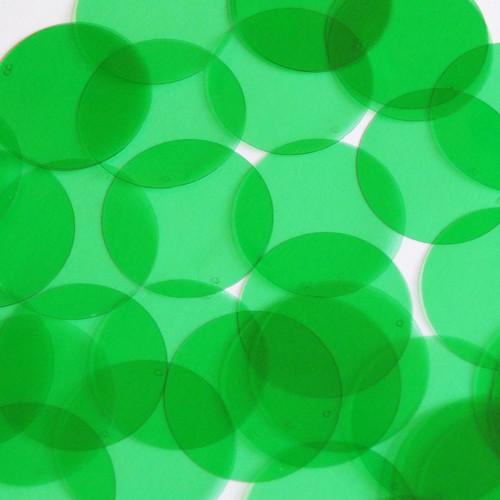 "1.5"" Shape Round Vinyl Go Go Trans Green"