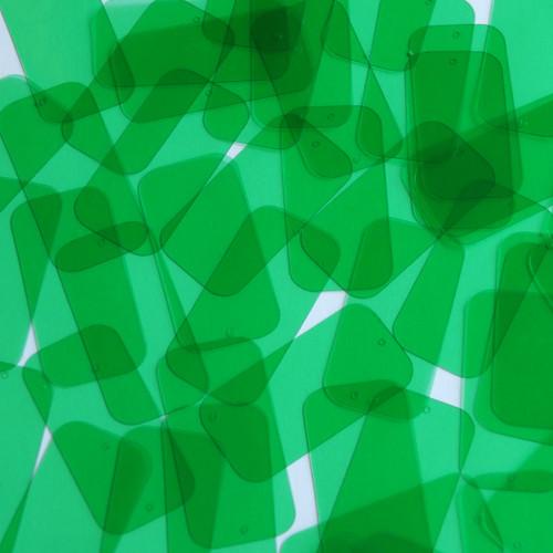 "1.5"" x .75"" Shape Rectangle Vinyl Go Go Trans Green"