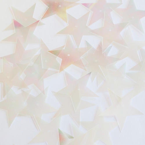 "Star 5 Point Sequins 1.5"" Clear Crystal Iris Luminescent"