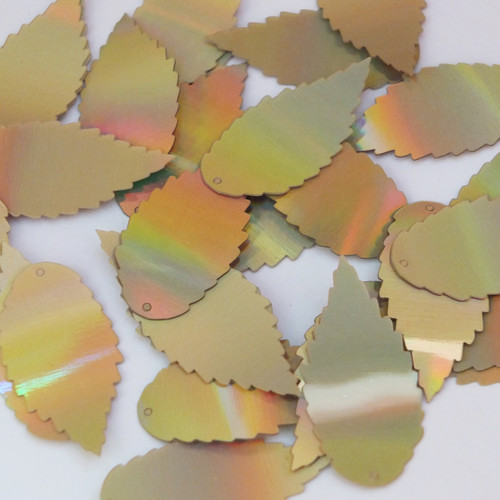 "Feather Leaf Sequins 1.5"" Gold Lazersheen Reflective Metallic"