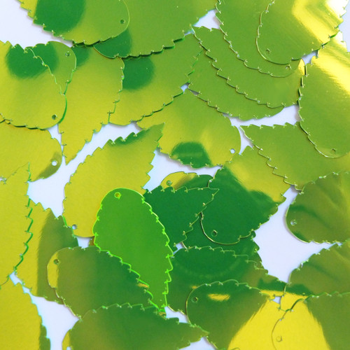 "Feather Leaf Sequins 1.5"" Lime Green Metallic Fluorescent"