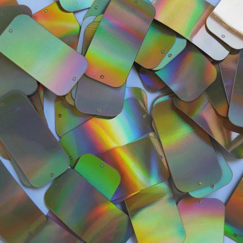 "Rectangle Sequins 1.5"" 2 hole Gold Lazersheen Reflective Metallic"