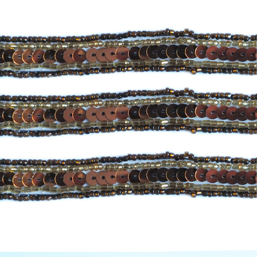 Beaded Trim Bronze Sequins Brown Gold Glass Seed Beads