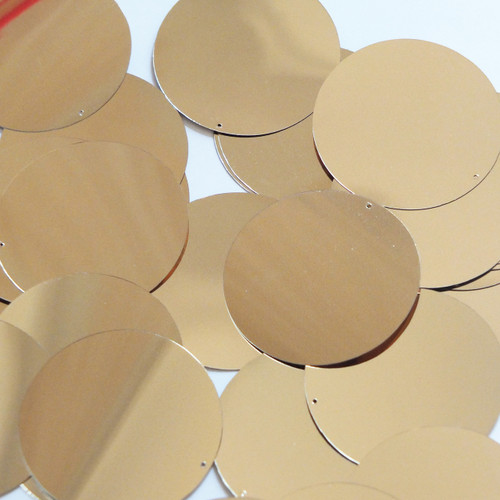 Round sequins 40mm Pale Gold Metallic