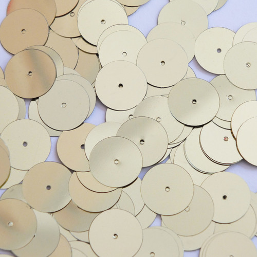 Round sequins 15mm Pale Yellow Gold Metallic
